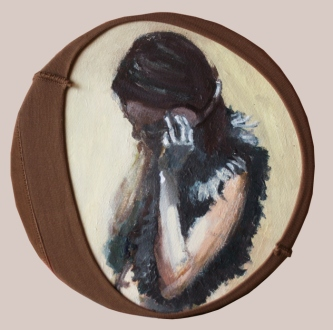 """Goodbye Lucie"", 2015, acrilico su tela, diam 20 cm"