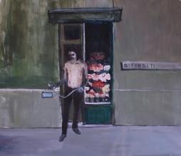 """""""Difenditi"""", 2015, acrilico su lino, cm 110x120"""