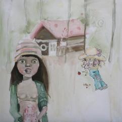 Sarah kay mangia la casa di marzapane e poi vomita, acrilico su tela, cm 40×40, 2011