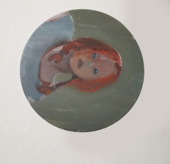 """Feritoie"", 2016, acrilico su lino, diam 30 cm"